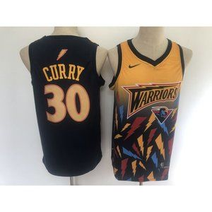 Warriors Stephen Curry Navy Gold Jersey
